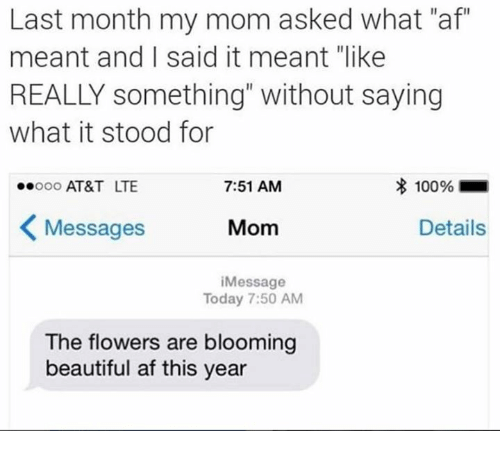 """Af, Beautiful, and Dank: Last month my mom asked what """"af""""  meant and I said it meant """"like  REALLY something"""" without saying  what it stood for  ooo AT&T LTE  7:51 AM  100961  Messages  Mom  Details  iMessage  Today 7:50 AM  The flowers are blooming  beautiful af this year"""