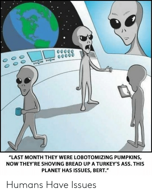 "pumpkins: ""LAST MONTH THEY WERE LOBOTOMIZING PUMPKINS,  NOW THEY'RE SHOVING BREAD UP A TURKEY'S ASS. THIS  PLANET HAS ISSUES, BERT."" Humans Have Issues"