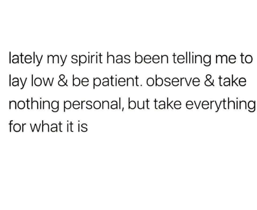 nothing personal: lately my spirit has been telling me to  lay low & be patient. observe & take  nothing personal, but take everything  for what it is
