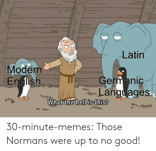 Up To No Good: Latin  Modern  German  Languages  hell is this?  What the 30-minute-memes:  Those Normans were up to no good!