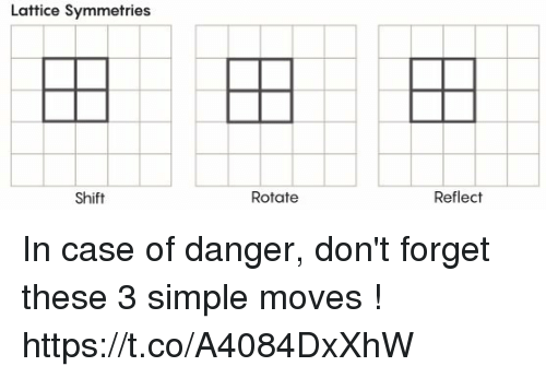 lattice: Lattice Symmetries  Shift  Rotate  Reflect In case of danger, don't forget these 3 simple moves ! https://t.co/A4084DxXhW