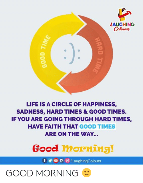 hard times: LAUGHING  Colours  LIFE IS A CIRCLE OF HAPPINESS,  SADNESS, HARD TIMES & GOOD TIMES.  IF YOU ARE GOING THROUGH HARD TIMES,  HAVE FAITH THAT GOOD TIMES  ARE ON THE WAY...  Good morning!  fy  /LaughingColours  HARD TIME  BOOD TIME GOOD MORNING 🙂