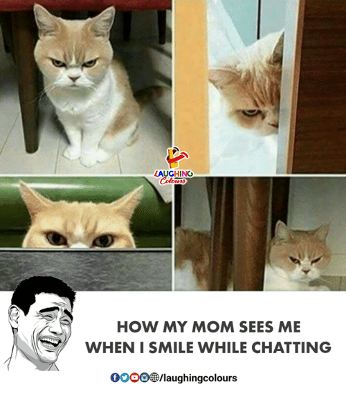 i smile: LAUGHING  HOW MY MOM SEES ME  WHEN I SMILE WHILE CHATTING  00OD㊧laughingcolours
