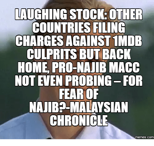 Stock Image Stories: LAUGHING STOCK: OTHER  COUNTRIES FILING  CHARGES AGAINST1MDB  CULPRITS BUT BACK  HOME PRO-NAJIB MACC  NOT EVEN PROBING-FOR  FEAR OF  NAJIBP-MALAYSIAN  CHRONICLE  COM