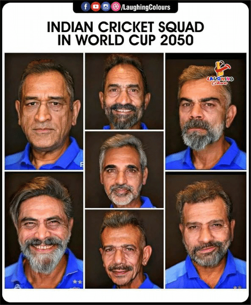 World Cup: /LaughingColours  INDIAN CRICKET SQUAD  IN WORLD CUP 2050  LAUGHING  Cleurs