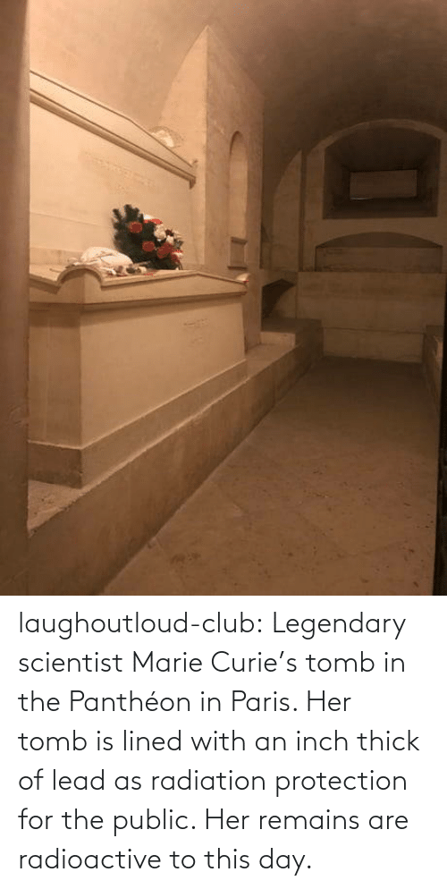 scientist: laughoutloud-club:  Legendary scientist Marie Curie's tomb in the Panthéon in Paris. Her tomb is lined with an inch thick of lead as radiation protection for the public. Her remains are radioactive to this day.