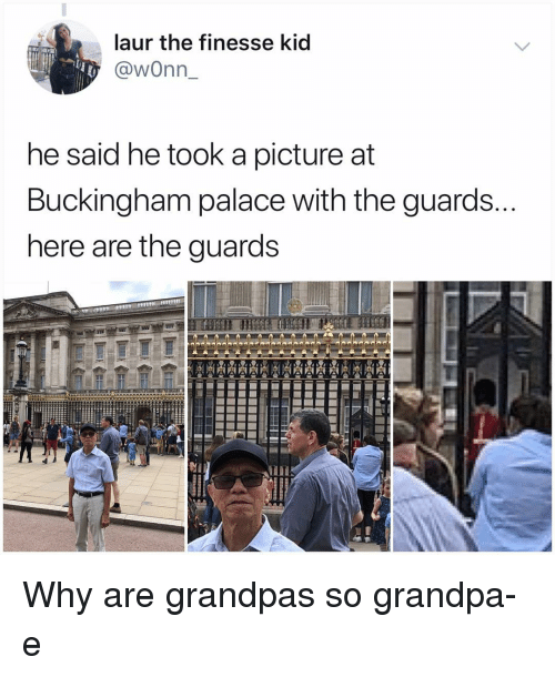 Memes, Grandpa, and A Picture: laur the finesse kid  @wonn  he said he took a picture at  Buckingham palace with the guards.  nere are the guards Why are grandpas so grandpa-e