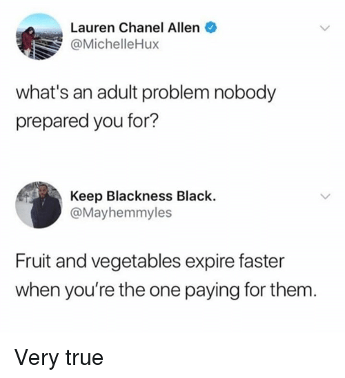 Dank, True, and Black: Lauren Chanel Allen .  @MichelleHux  what's an adult problem nobody  prepared you for?  Keep Blackness Black.  @Mayhemmyles  Fruit and vegetables expire faster  when you're the one paying for them Very true