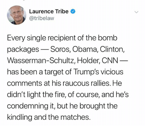 soros: Laurence Tribe  @tribelaw  Every single recipient of the bomb  packages-Soros, Obama, Clinton,  Wasserman-Schultz, Holder, CNN  has been a target of Trump's vicious  comments at his raucous rallies. He  didn't light the fire, of course, and he's  condemning it, but he brought the  kindling and the matches.