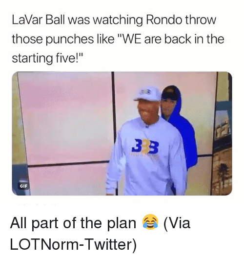 "rondo: LaVar Ball was watching Rondo throw  those punches like""WE are back in the  starting five!""  GIF All part of the plan 😂 (Via ‪LOTNorm‬-Twitter)"