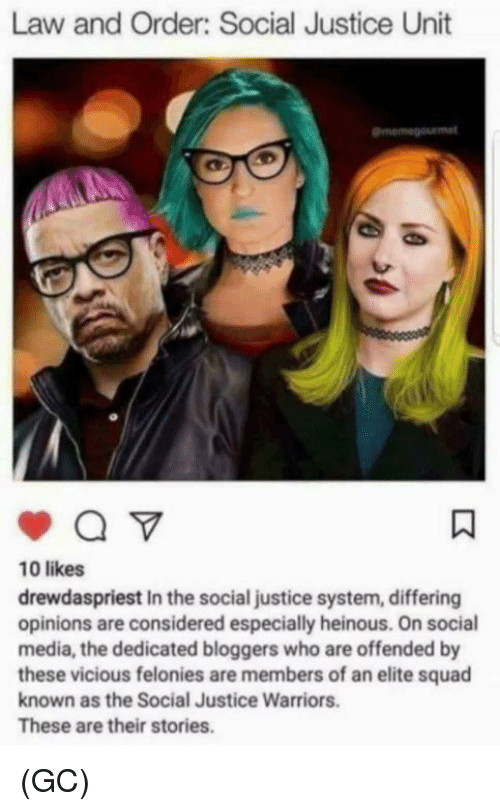 Memes, Social Media, and Squad: Law and Order: Social Justice Unit  10 likes  drewdaspriest In the social justice system, differing  opinions are considered especially heinous. On social  media, the dedicated bloggers who are offended by  these vicious felonies are members of an elite squad  known as the Social Justice Warriors.  These are their stories. (GC)