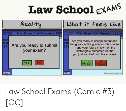 Prolongation: Law SchooleXAMS  Reality  What it Feels Line  ELECTRONIC  BLUE BODK Final Exam: Civil Procedure 5ELE ROFinal Exam: Civil Procedure 5000  WO  Are you ready to accept defeat and  57 Are you ready to subming your entire grade for this course  and your future in law - on the  unintelligible dumpster fire that  you just vomited onto the screen?  your exam?  NO  Prolong the  inevitable  F*** it  YES NO  Let's get it  over with  ubmA t  AMANDAPANDACOMICS.COM Law School Exams (Comic #3) [OC]