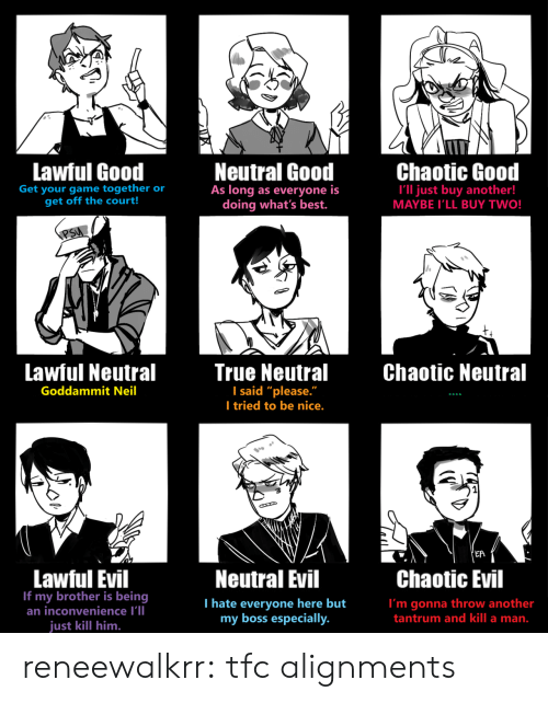 "Lawful Evil: Lawful Good  Neutral Good  As long as everyone is  doing what's best.  Chaotic Good  Get your game together or  get off the court!  I'll just buy another!  MAYBE I'LL BUY TWO!  PSU  Lawful Neutral  True Neutral  I said ""please.""  I tried to be nice.  Chaotic Neutral  Goddammit Neil  'EA  Lawful Evil  If my brother is being  an inconvenience I'll  Neutral Evil  Chaotic Evil  T hate everyone here but  my boss especially.  I'm gonna throw another  tantrum and kill a man.  just kill him. reneewalkrr:  tfc alignments"