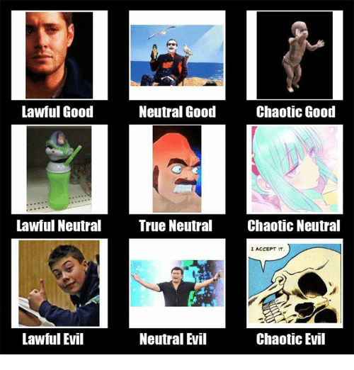 True, Good, and Dank Memes: Lawful Good  Neutral Good  Chaotic Good  Lawful Neutral True Neutral  Chaotic Neutral  I ACCEPT IT  Lawful Evil  Neutral Evil  Chaotic Evil