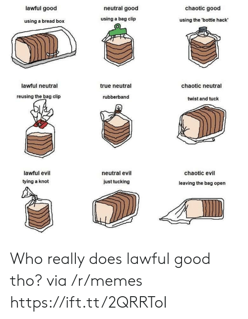 Lawful Evil: lawful good  neutral good  chaotic good  using a bread box  using a bag clip  using the 'bottle hack  0  lawful neutral  true neutral  chaotic neutral  reusing the bag clip  rubberband  twist and tuck  lawful evil  tying a knot  neutral evil  chaotic evil  just tucking  leaving the bag open Who really does lawful good tho? via /r/memes https://ift.tt/2QRRToI