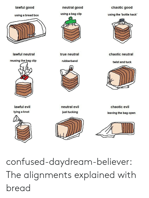 Believer: lawful good  neutral good  chaotic good  using a bread box  using a bag clip  using the 'bottle hack'  lawful neutral  true neutral  chaotic neutral  reusing the bag clip  rubberband  twist and tuck  lawful evil  tying a knot  neutral evil  just tucking  chaotic evil  leaving the bag open confused-daydream-believer: The alignments explained with bread