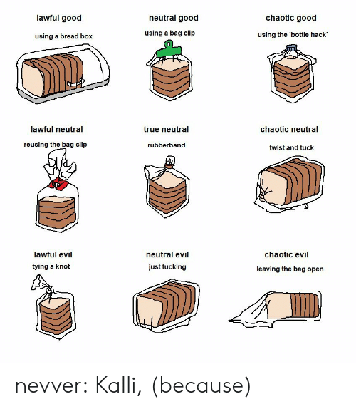 Neutral Evil: lawful good  neutral good  chaotic good  using a bread box  using a bag clip  using the 'bottle hack'  מה  lawful neutral  true neutral  chaotic neutral  reusing the bag clip  rubberband  twist and tuck  lawful evil  tying a knot  neutral evil  just tucking  chaotic evil  leaving the bag open nevver: Kalli, (because)