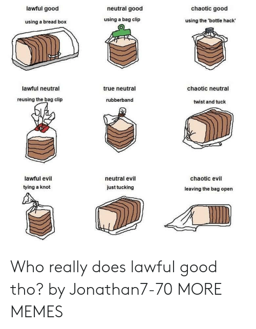 Lawful Evil: lawful good  neutral good  chaotic good  using a bread box  using a bag clip  using the 'bottle hack  0  lawful neutral  true neutral  chaotic neutral  reusing the bag clip  rubberband  twist and tuck  lawful evil  tying a knot  neutral evil  chaotic evil  just tucking  leaving the bag open Who really does lawful good tho? by Jonathan7-70 MORE MEMES