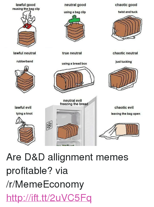 """Neutral Evil: lawful good  reusing the bag clip  neutral good  chaotic good  using a bag clip  twist and tuck  Ir  lawful neutral  true neutral  chaotic neutral  rubberband  just tucking  using a bread box  neutral evil  freezing the bread  lawful evil  chaotic evil  tying a knot  leaving the bag open <p>Are D&amp;D allignment memes profitable? via /r/MemeEconomy <a href=""""http://ift.tt/2uVC5Fq"""">http://ift.tt/2uVC5Fq</a></p>"""