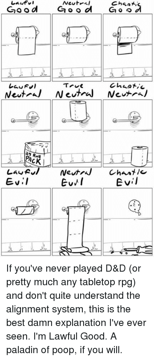 Tabletop Rpg: Lawful  Newt  Cheat,  Good  d  Ga o o  G o o  True  Chaotic  Neut Neutral Neutral  Law R  Neutral Chant  Evil  Evil If you've never played D&D (or pretty much any tabletop rpg) and don't quite understand the alignment system, this is the best damn explanation I've ever seen.  I'm Lawful Good. A paladin of poop, if you will.