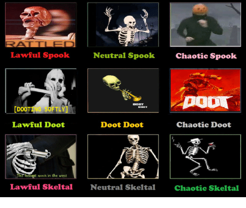 Doot Doot: Lawful Spook  Neutral Spook  Chaotic Spook  [DOOTING SOFTLY  Lawful Doot  Doot Doot  Chaotic Doot  The fastest apock in the west  Lawful Skeltal  Neutral Skeltal  Chaotic Skeltal