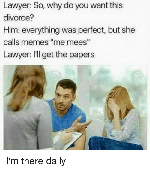 "Lawyer, Memes, and Divorce: Lawyer: So, why do you want this  divorce?  Him: everything was perfect, but she  calls memes ""me mees""  Lawyer: I'll get the papers I'm there daily"