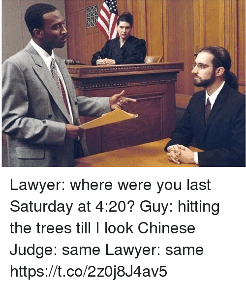 Funny, Lawyer, and Chinese: Lawyer: where were you last Saturday at 4:20?  Guy: hitting the trees till I look Chinese  Judge: same  Lawyer: same https://t.co/2z0j8J4av5