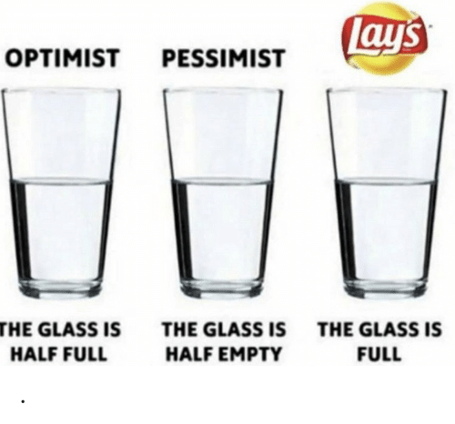 Lay's, Glass, and Full: Lays  OPTIMIST PESSIMIST  THE GLASS IS  THE GLASS IS  THE GLASS IS  HALF EMPTY  FULL  HALF FULL .