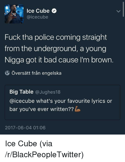 icecube: lce Cube  @icecube  Fuck tha police coming straight  from the underground, a young  Nigga got it bad cause I'm brown.  Översätt från engelska  Big Table @Jughes18  @icecube what's your favourite lyrics or  bar you've ever written??  2017-06-04 01:06 <p>Ice Cube (via /r/BlackPeopleTwitter)</p>