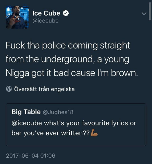 icecube: lce Cube  @icecube  Fuck tha police coming straight  from the underground, a young  Nigga got it bad cause I'm brown.  Översätt från engelska  Big Table @Jughes18  @icecube what's your favourite lyrics or  bar you've ever written??  2017-06-04 01:06