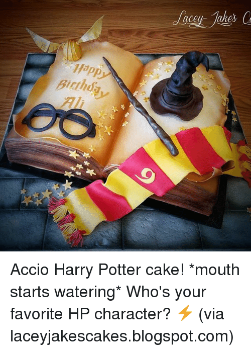 Memes, 🤖, and Potter: (lceu- IURes  Birth  rthdy Accio Harry Potter cake! *mouth starts watering* Who's your favorite HP character? ⚡️ (via laceyjakescakes.blogspot.com)