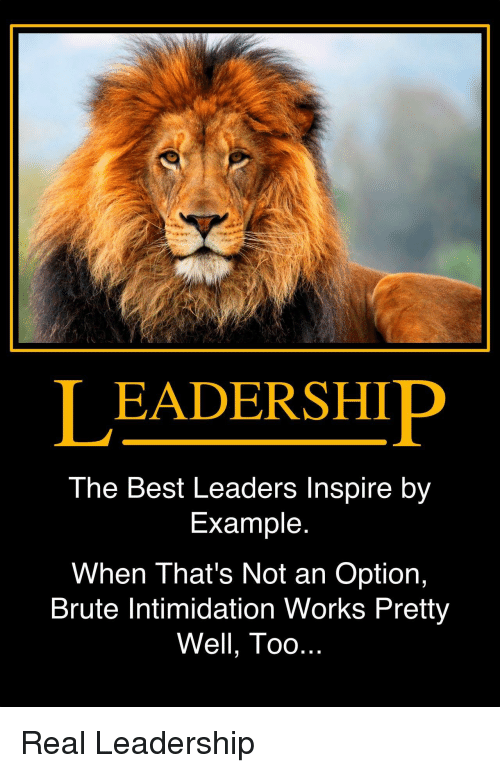 Leadership: LEADERSHIP  The Best Leaders Inspire by  Example  When That's Not an Option,  Brute Intimidation Works Pretty  Well, Too Real Leadership