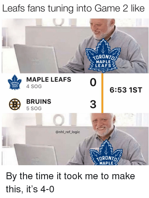 tuning: Leafs fans tuning into Game 2 like  MAPLE  LEAFS  DRONT  MAPLE  LEAFS  MAPLE LEAFS 0  4 SOG  6:53 1ST  BRUINS  5 SOG  3  @nhl_ref_logic  TORONTO  MAPLE By the time it took me to make this, it's 4-0