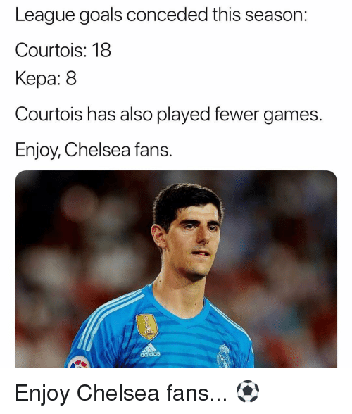 Flea: League goals conceded this season:  Courtois: 18  Kepa: 8  Courtois has also played fewer games.  Enjoy, Chelsea fans.  FLEA  adidaS Enjoy Chelsea fans... ⚽️