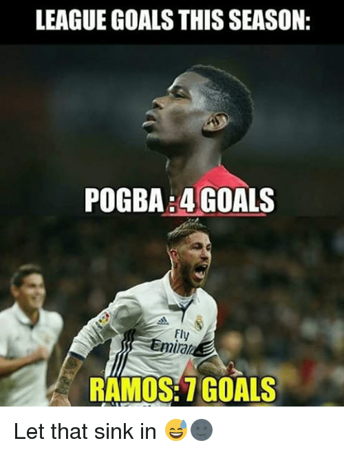 Memes, 🤖, and Sink: LEAGUE GOALS THIS SEASON:  4 GOALS  RAMOS: GOALS Let that sink in 😅🌚