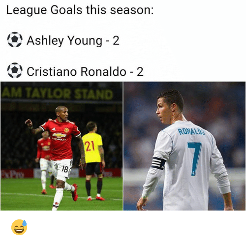 Cristiano Ronaldo, Goals, and Memes: League Goals this season:  Ashley Young-2  Cristiano Ronaldo-2  AM TAYLOR STAN  RONALI  21  18 😅