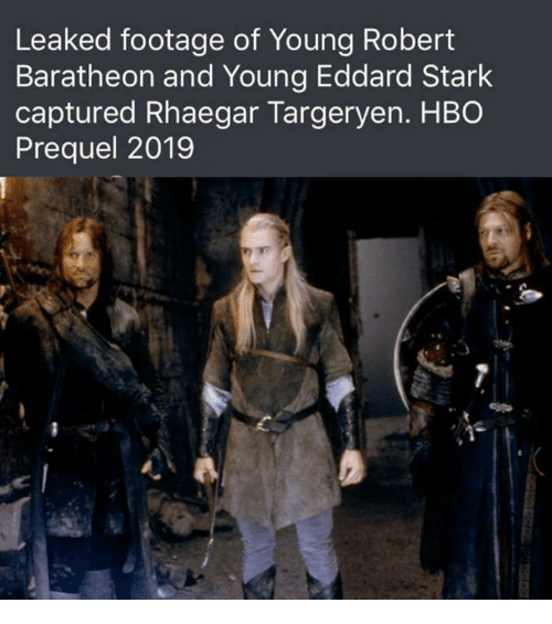 baratheon: Leaked footage of Young Robert  Baratheon and Young Eddard Stark  captured Rhaegar Targeryen. HBO  Prequel 2019