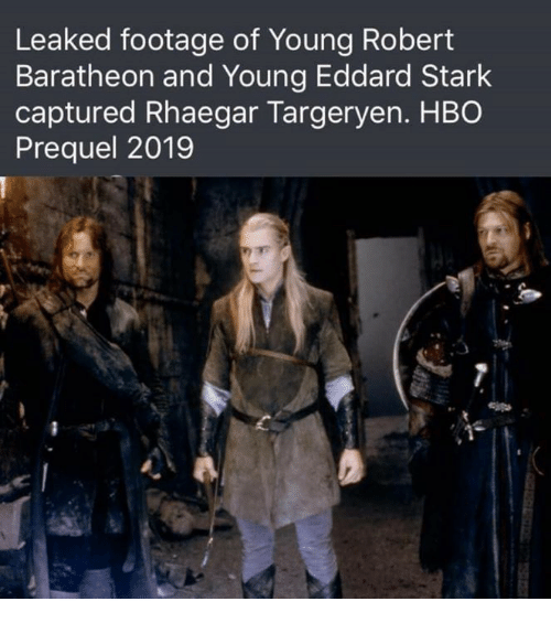 baratheon: Leaked footage of Young Robert  Baratheon and Young Eddard Stark  captured Rhaegar Targeryen. HBO  Prequel 2019  e l