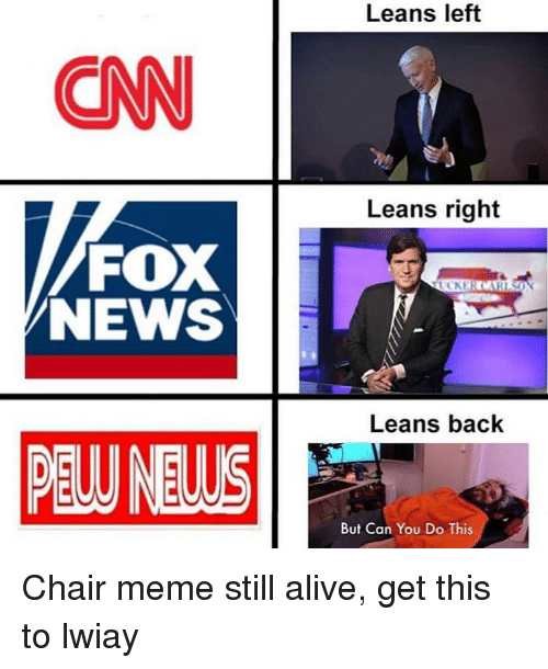 Chair Meme: Leans left  CN  Leans right  FOX  Leans back  PEW NEWS  But Can You Do This