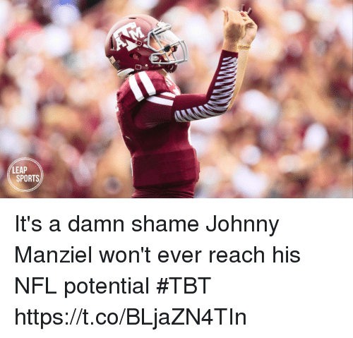 Johnny Manziel, Nfl, and Sports: LEAP  SPORTS It's a damn shame Johnny Manziel won't ever reach his NFL potential #TBT  https://t.co/BLjaZN4TIn
