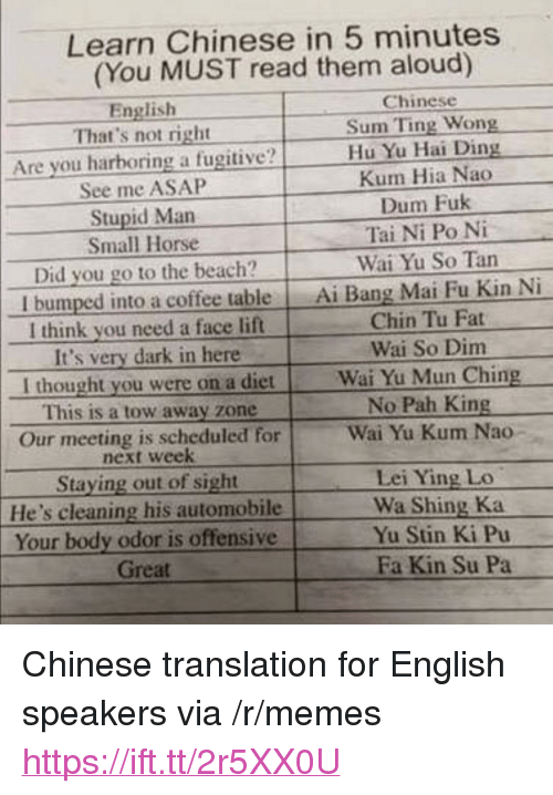 "pah: Learn Chinese in 5 minutes  (You MUST read them aloud)  English  Chinese  That's not right  Sum Ting Wong  Are you harboring a fugitive?Hu Yu Hai L  Kum Hia Nao  Dum Fuk  Tai Ni Po Ni  Wai Yu So Tan  See me ASAP  Stupid Man  Small Horse  Did you go to the beach?  I bumped into a coffee table Ai Bang Mai Fu Kin Ni  I think you need a face lift  It's very dark in here  Chin Tu Fat  Wai So Dim  I thought you were on a dietWai Yu Mun Ching  This is a tow away zone  Our meeting is scheduled for  No Pah King  Wai Yu Kum Nao-  next week  Staying out of sight  He's cleaning his automobile  Your body odor is offensive  Lei Ying Lo  Wa Shing Ka  Yu Stin Ki Pu  Great  Fa Kin Su Pa <p>Chinese translation for English speakers via /r/memes <a href=""https://ift.tt/2r5XX0U"">https://ift.tt/2r5XX0U</a></p>"