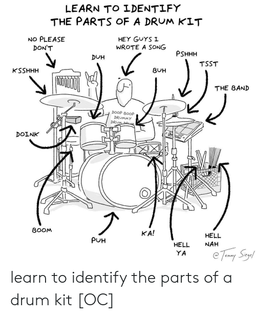drum: LEARN TO LDENTLFY  THE PARTS oF A DRUM KIT  NO PLEASE  HEY GuYS I  WROTE A SONG  DON'T  PSHHH  DUH  TSST  KSSHHH  BUH  THE BAND  DOOP BOOp  DRUMMY  DRU  DOINK  BOOM  KA!  HELL  NAH  PUH  HELL  YA learn to identify the parts of a drum kit [OC]
