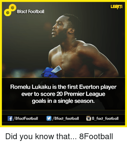 Memes, 🤖, and Player: LEARTi  8fact Football  Romelu Lukaku isthe first Everton player  ever to score 20 Premier League  goals in a single season.  f/8factFootball /8fact football 8 fact football Did you know that...  8Football