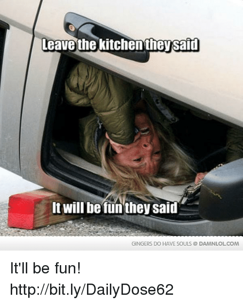 gingers do have souls: Leave the Kitchen theysaid  It will be funthey said  GINGERS DO HAVE SOULS DAMNLOLCOM It'll be fun!  http://bit.ly/DailyDose62