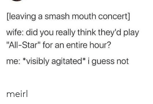 "Smashing: [leaving a smash mouth concert]  wife: did you really think they'd play  ""All-Star"" for an entire hour?  me: *visibly agitated* i guess not meirl"