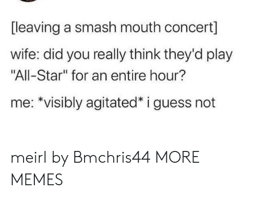 "Smashing: [leaving a smash mouth concert]  wife: did you really think they'd play  ""All-Star"" for an entire hour?  me: *visibly agitated* i guess not meirl by Bmchris44 MORE MEMES"