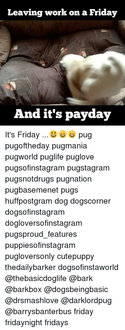 Friday, It's Friday, and Memes: Leaving work on a Friday  And it's payday It's Friday ...😃😄😄 pug pugoftheday pugmania pugworld puglife puglove pugsofinstagram pugstagram pugsnotdrugs pugnation pugbasemenet pugs huffpostgram dog dogscorner dogsofinstagram dogloversofinstagram pugsproud_features puppiesofinstagram pugloversonly cutepuppy thedailybarker dogsofinstaworld @thebasicdoglife @bark @barkbox @dogsbeingbasic @drsmashlove @darklordpug @barrysbanterbus friday fridaynight fridays
