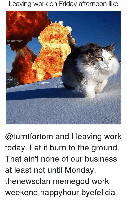 Friday, Mondays, and Work: Leaving work on Friday afternoon like  turntfortom @turntfortom and I leaving work today. Let it burn to the ground. That ain't none of our business at least not until Monday. thenewsclan memegod work weekend happyhour byefelicia