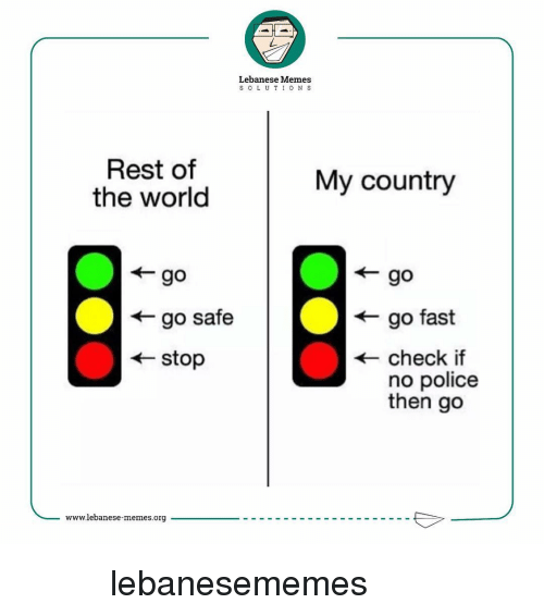 Meme S: Lebanese Memes  S O L U T I O N S  Rest of  My country  the world  go safe  go fast  stop  check if  no police  then go  www.lebanese-memes.org كلنااااا للوطن lebanesememes