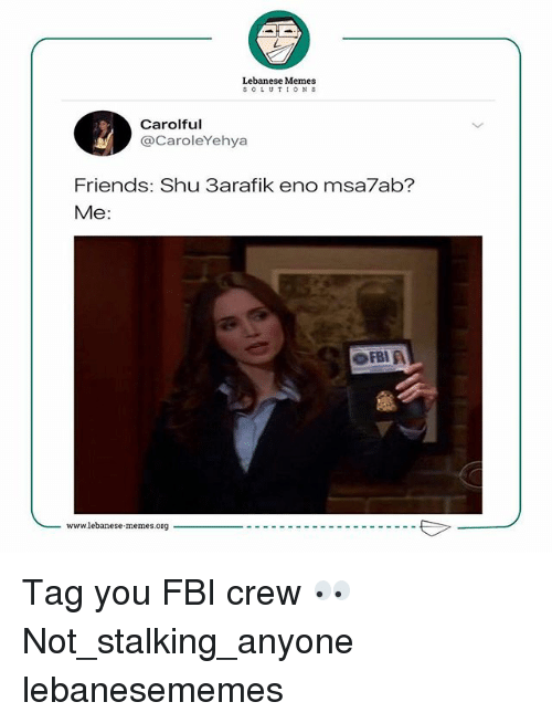 Lebanese: Lebanese Memes  SOLUTIONS  Carolful  @CaroleYehya  Friends: Shu 3arafik eno msa7ab?  Me:  FBI A Tag you FBI crew 👀 Not_stalking_anyone lebanesememes